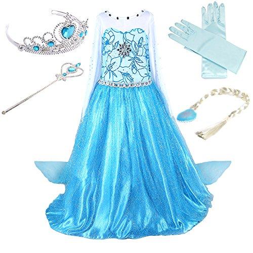 Prinzessin Kostüm Kinder Glanz Kleid Mädchen Weihnachten Verkleidung Karneval Party Halloween Fest (130(Körpergröße 130cm), Elsa #02 und 4 Zubehör)