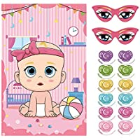 Pin The Dummy On The Baby Game for 36 Players Baby Shower Party Fun Game (Pink)
