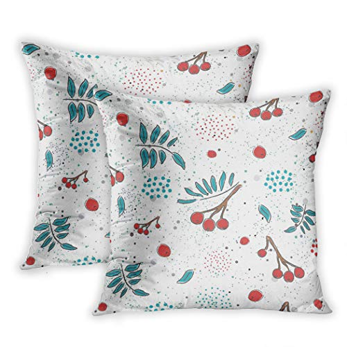 Nekkzi Cushion Covers Set of Two Print Red Berry Christmas Brier Spray Whimsical Traditional Colorful Artistic Sofa Home Decorative Throw Pillow Cover 16x16 Inch Pillowcase Hidden Zipper -
