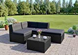 Abreo Rattan Wicker Weave Garden Furniture Conservatory Modular Corner Sofa Set (5 Piece Black with Dark Cushions Faro)