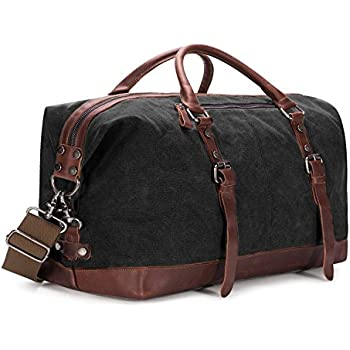 EverVanz Oversized Travel Duffel Canvas Leather Trim Tote shoulder ...