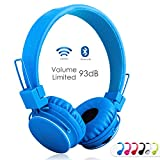 Volume Limited + Wireless Bluetooth Kids Headphones, Termichy wireless/wired Foldable Stereo over-Ear headset with shareport and Built-in Microphone for calling, children Bluetooth Earphones for smartphones PC music gaming. Blue