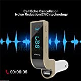 Famous Quality CARG7 2.5A With Turbo Charging Lcd Bluetooth Car Charger Fm Kit Mp3 Transmitter Usb Hands-free Mobile With Aux Cable - White/Gold