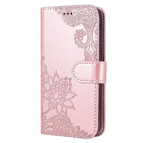 Handyhülle Kompatibel mit Samsung Galaxy J3 2017 Leder Tasche Luxus Retro Prägung Rose Blumen Muster Klapphülle Ultradünn Kunstleder Lederhülle Handycover Case Flip Cover,Rose Gold
