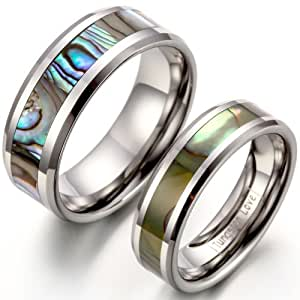 JewelryWe Free Engraving Matching High Polished Comfort Fit Tungsten Carbide Rings With Abalone Shell Inlay 8mm His & 6mm Hers Set Aniversary/Engagement/Wedding Bands. Please Email Sizes.
