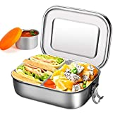 Lunch box in acciaio inossidabile con tazza per immersione - Bento box 1400 ml con parete rimovibile, contenitore per insalata | scatola da pranzo sandwich resistente alle perdite per bambini e adulti
