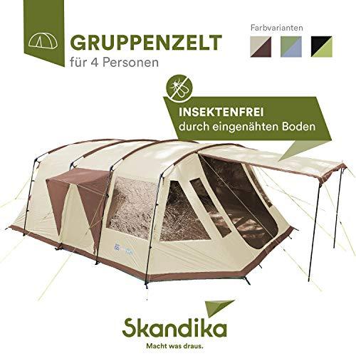 skandika Nordland 4Familia túnel Tienda de campaña Camping, Unisex, Nordland 4, Beige/Brown