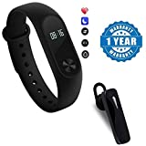 #9: moblios Mi 3 / Mi 3 / Mi3 / Mi 3 compatible Intelligence fitness Band with Heart Rate sensor/Pedometer/Sleep Monitoring With K1 Wireless Stereo Headset excellent sound quality and an amazingly lightweight design Compatible With Xiaomi, Lenovo, Apple, Samsung, Sony, Oppo, Gionee, Vivo Smartphones (One Year Warranty) by moblios