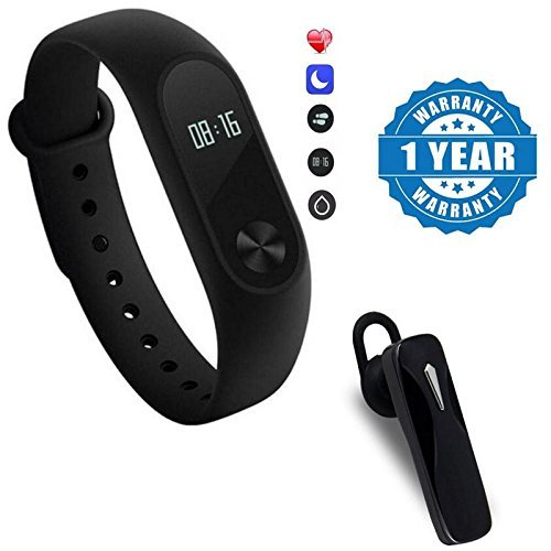 Samsung Galaxy S7 / Samsung S7 (S 7) / Samsung Galaxy S7 compatible Intelligence fitness Band with Heart Rate sensor/Pedometer/Sleep Monitoring With K1 Wireless Stereo Headset excellent sound quality and an amazingly lightweight design Compatible With Xiaomi, Lenovo, Apple, Samsung, Sony, Oppo, Gionee, Vivo Smartphones (One Year Warranty) by moblios
