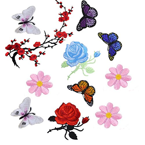 bestim-incuk-11-pieces-flowers-butterfly-iron-on-sew-on-patches-embroidery-applique-patches-for-jean