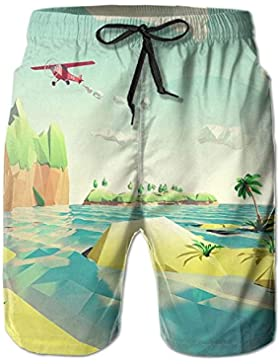 Funny Caps Low Poly Sea View Men's/Boys Casual Shorts Swim Trunks Swimwear Elastic Waist Beach Pants with Pockets