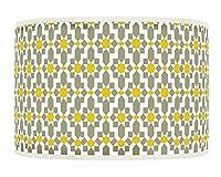 Yellow Mustard Grey Retro Geometric Handmade Giclee Style Printed Fabric Lamp Drum Lampshade Floor or Ceiling Pendant Light Shade 461