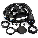 USB 3.0 Flush Mount Kabel, Dual USB Flush Dash Panel Mount Kabel männlich zu weiblich Verlängerung Code für Auto LKW Boot Motorrad Armaturenbrett (1m/3ft)