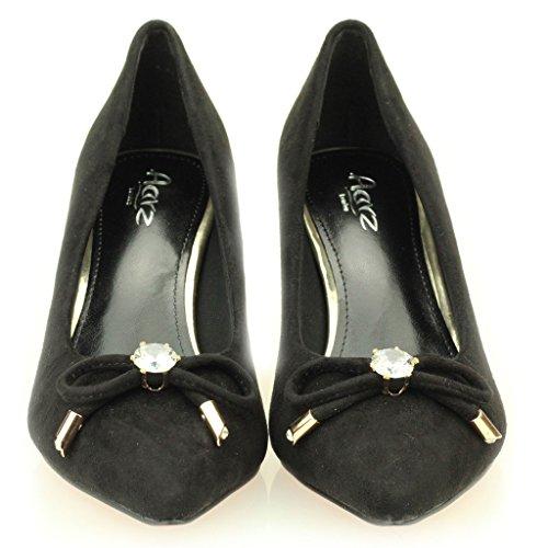 Femmes Dames Soirée Casual Tribunaux Moyenne Kitten Heel Mariage Party Sandale Taille de chaussures (Noir, Bordeaux) Noir