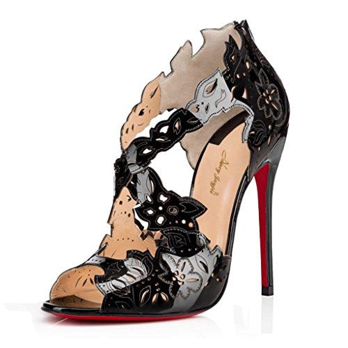 NANCY JAYJII - Femmes - Stiletto - Noir - Cuir véritable - Talon aiguille - Effet motifs découpés - Brides chevilles croisées - Bout rond ouvert