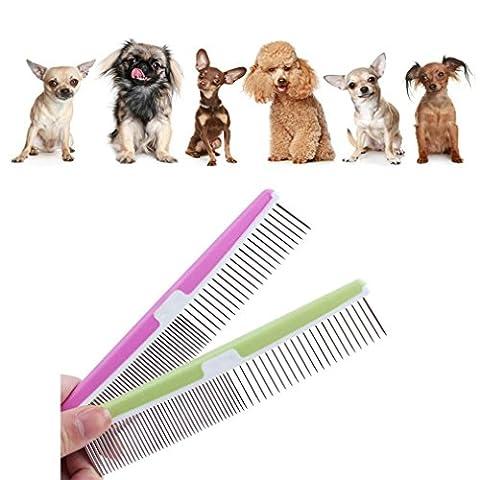 Délestage en acier inoxydable Chien Chat Pin Peigne Toilettage Flea Comb Brosse chiot chiens acier inoxydable Peigne Anti Puces, couleur aléatoire-2.3*17cm