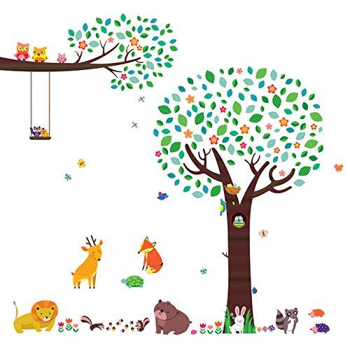 Decowall dml-1312p1410 grande albero con amici animali e rami con gufi adesivi da parete decorazioni parete stickers murali soggiorno asilo nido camera da letto per bambini