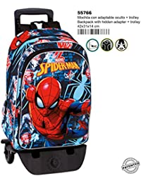 Spiderman Radioactive - Mochila grande con carro extraíble, trolley (Perona 55766)