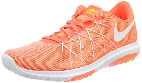 Nike Damen Flex Fury 2 Laufschuhe Hyper Orange/White-Atomic Pink-Opt Y, 38.5 EU (Nike Flex Fury)