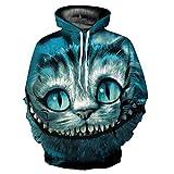 WEIYIGE Sweatshirt 3D Mode Männer und Frauen Modelle Lose Kapuzen Pullover Variation Katze Digitaldruck Körper Drucken Shirt-XXXL