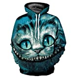 WEIYIGE Sweatshirt 3D Mode Männer und Frauen Lose Kapuzenpullover Variant Cat Digital Print Ganzkörper-Top - XL