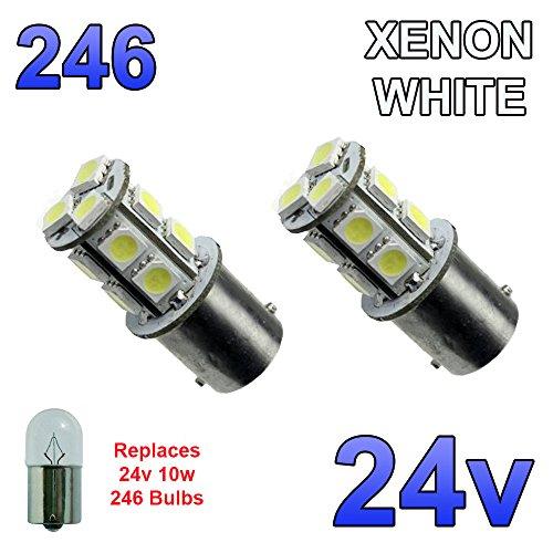 2x Weiß 24V LED BA15S 246R10W 13SMD Single Rufnummer Plate Innen Leuchtmittel LKW Truck