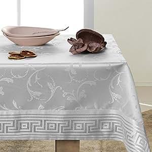 140x220 weiß silber Tischdecke Tischtuch Weinrebe Weinrebemotiv floristisches Motiv gestickt elegant praktisch pflegeleicht mit Borte fleckgeschützt Modern Ares
