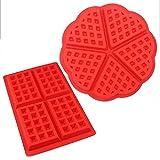 Centtechi 2 Stück Silikon Waffel Backen Formen,für Kuchen Plätzchen Jelly Ice Desserts DIY Dekorieren Schokolade Formen Backen(Herz Form Quadratisch)