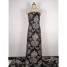 Tela de satén de damasco vintage floral para Haute Couture de 145 cm de ancho,