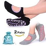 Muezna Non Slip Yoga Socks for Women, Anti-skid Pilates Barre Bikram Studio Socks with Grips (Black, Dk.Green, Burgundy)