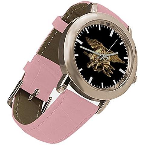 Oksana generic print Women's Navy Seal Tridentcustom Rose Gold Leather Strap Watch - Personalized Gold Seal
