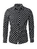 Allegra K Herren Gepunktetes Schwarz Oberhemd Knopfhemd Regular Fit, Schwarz/L (EU 54)