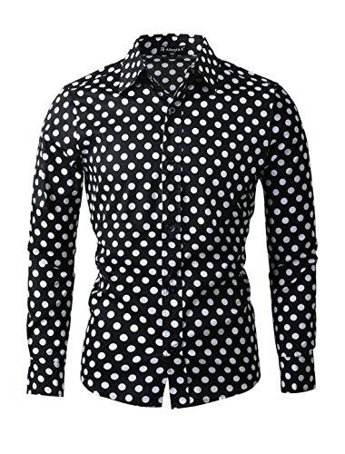 Allegra K Camisa de Lunares Para Hombres Mangas Largas Ajuste Delgado - Negro/M (US 40, EU 50)