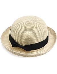 19eb761da486 WINOMO Chapeau de Paille Femme Chapeau Melon (Beige Noir)