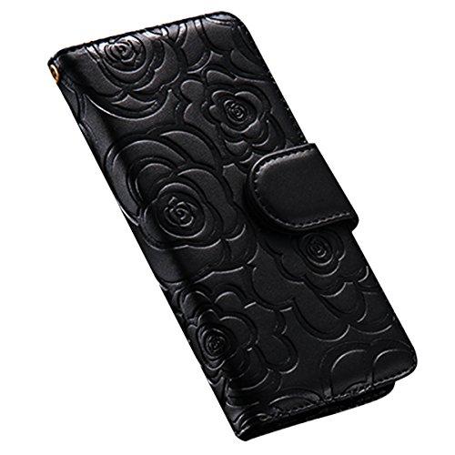 Custodia iPhone 6S, ISAKEN Custodia iPhone 6, iPhone 6 Flip Cover in Color, Elegante Fiori Pattern Design Custodia PU Pelle Protettiva Portafoglio Case Cover per Apple iPhone 6 4.7 / con Supporto di  rose: nero