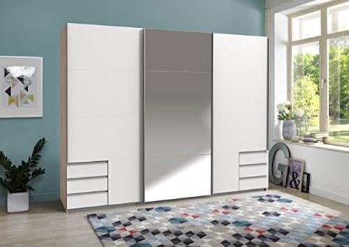 lifestyle4living Kleiderschrank, Schrank, Schwebetürenkleiderschrank, Schwebetürenschrank, Schlafzimmerschrank, Wäscheschrank, Hickory Eiche NB, weiß, Spiegel - Hickory-schlafzimmer-möbel