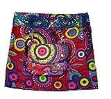 Sunsa Kinder Rock Minirock Wickelrock Wenderock Sommerrock aus Baumwolle, mit Einem abnehmbaren Täschchen, Größe ist verstellbar durch Druckknöpfe