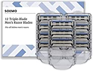 Amazon-Marke: Solimo 3-fach-Klingen für Herrenrasierer (12 Stück)