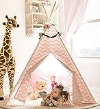 Tiny Land Tenda Bambini Teepee per Ragazze, 1,5 m Rosa Chevron Tenda per Bambini Giochi per Interni Decorazioni