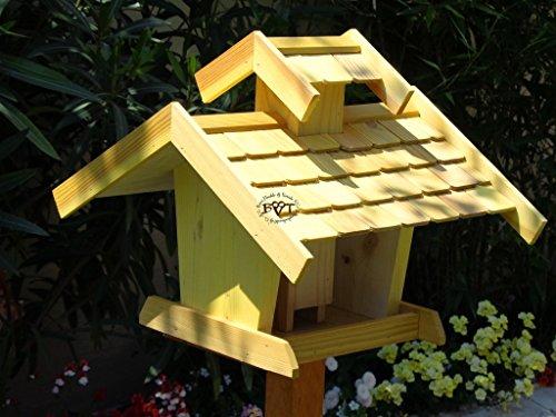 vogelhaus mit ständer, BEL-X-VOVIL4-MS-gelb002 Großes PREMIUM Vogelhaus KOMPLETT mit Ständer wetterfest lasiert, WETTERFEST, QUALITÄTS-SCHREINERARBEIT-aus 100% Vollholz, Holz Futterhaus für Vögel, MIT FUTTERSCHACHT Futtervorrat, Vogelfutter-Station Farbe gelb kräftig sonnengelb goldgelb, MIT TIEFEM WETTERSCHUTZ-DACH für trockenes Futter - 4