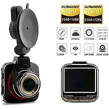 'Lance rtech Mini Auto Camera Recorder 2,0170° 2K Ultra HD 1296P 1080P auto DVR Dash Cam Video registratore con sensore G WDR registrazione Loop ciclo di automatica SOS rilevazione di movimento supporto 32GB scheda TF Adas