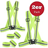 Juego de chaleco reflectante regulable elástico de seguridad de Sgodde, con 2 cintas para brazos y piernas para correr, hacer senderismo, ciclismo, caminar, carreras, motociclismo