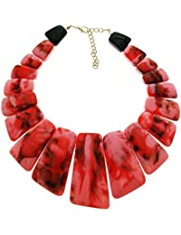 Tribal Zone Resin Big Statement Square Stone Red Choker Necklace For Women