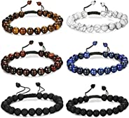FUNRUN JEWELRY 6PCS Bead Bracelets for Men Women Natural Stone Mala Bracelet