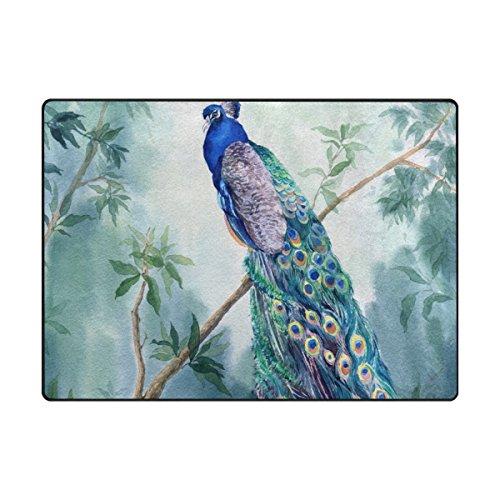 mydaily Pfau Watercolor Bereich Teppich 4'x 5' 3, Wohnzimmer Schlafzimmer Küche dekorativ leichtem Schaumstoff Teppich, bedruckt, Polyester, multi, 4'10