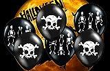Feste Feiern Halloween Deko | 6 Teile Luftballons Totenkopf Skelett Schwarz Weiss Happy Horror Grusel Party