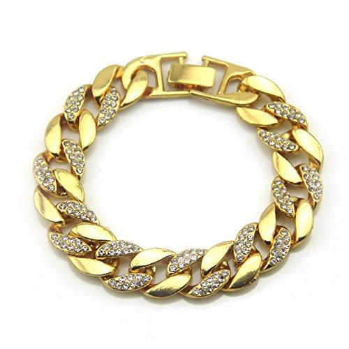 Braccialetto A Catena Bracciale Cubano Hip Hop Hip-Hop Wind Gioielli In Oro 18 Carati Bracciale Uomo Con Diamante Completo Catena Con Diamanti 21 Cm