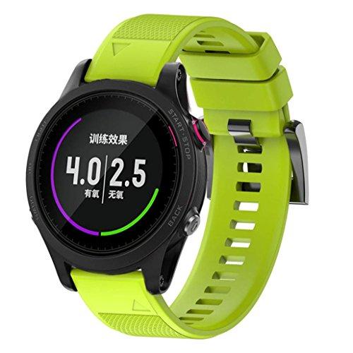 SHOBDW Garmin Forerunner 935 Armband, Ersatz Silicagel Soft Quick Release Kit Band Strap Für Garmin Forerunner 935 GPS Uhr (Grün, 220MM) Garmin Forerunner Quick Release