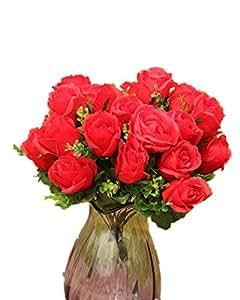 DAYAN Rosa Fiori Artificiali Fiore Piante Bouquet Decorazione per Cerimonia Matrimonio Party Casa colore Rossa