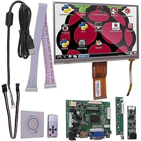 Kuman 7 Pollici LCD Display Touch Screen Tablet TFT Monitor con HDMI VGA Input Driver Board Controller per Raspberry Pi SC7H-1